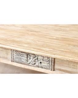 Konferenční stolek z antik teakového a mangového dřeva, ruční řezby, 139x76x46cm