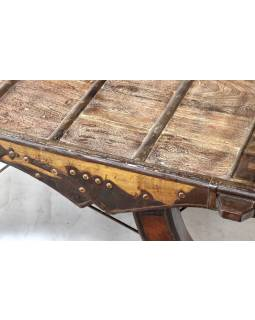 Konferenční stolek vyrobený ze starého povozu, teak, 100x100x39cm