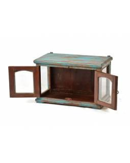 Prosklená skříňka z antik teakového dřeva, 56x32x36cm