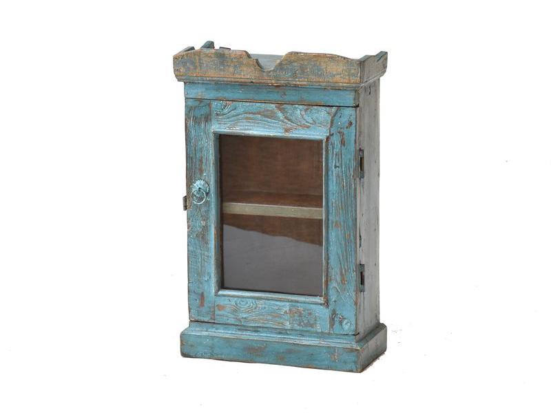 Prosklená skříňka z antik teakového dřeva, 35x16x58cm