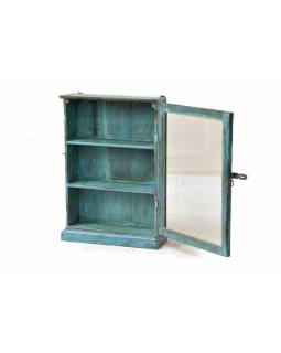 Prosklená skříňka z antik teakového dřeva, 48x18x71cm
