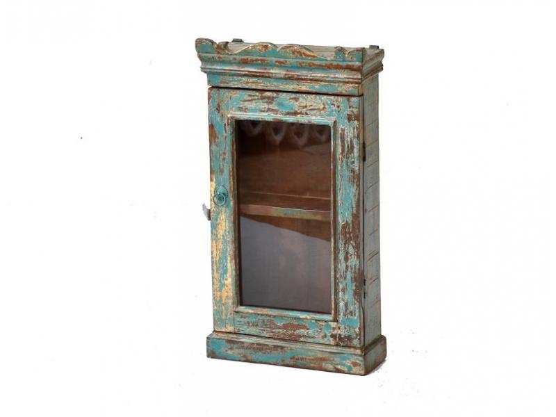 Prosklená skříňka z antik teakového dřeva, 39x16x71cm