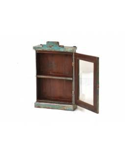 Prosklená skříňka z antik teakového dřeva, 42x16x71cm