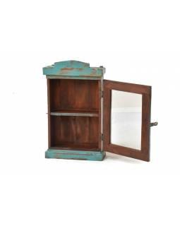Prosklená skříňka z antik teakového dřeva, 42x17x72cm