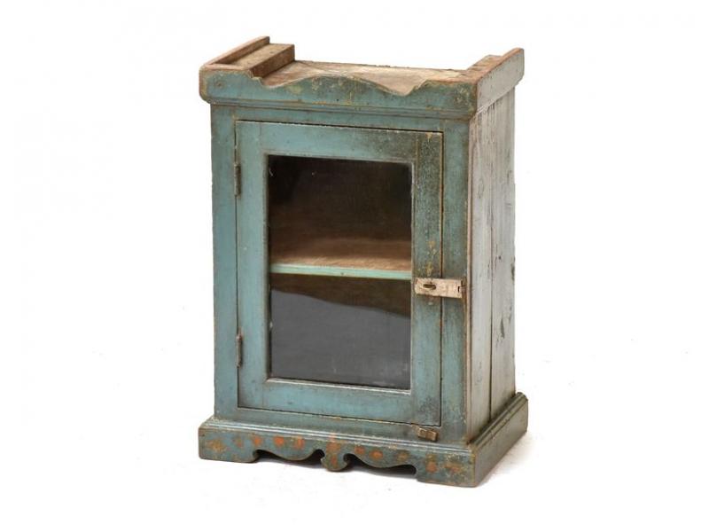 Prosklená skříňka z antik teakového dřeva, 38x27x54cm