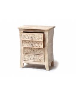 Komoda ze starého teakového dřeva s ručně vyřezávanými šuplíky, 54x32x65cm