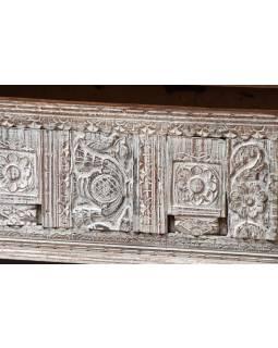 Stará dřevěná truhla z teakového dřeva, ruční řezby, 120x53x40cm
