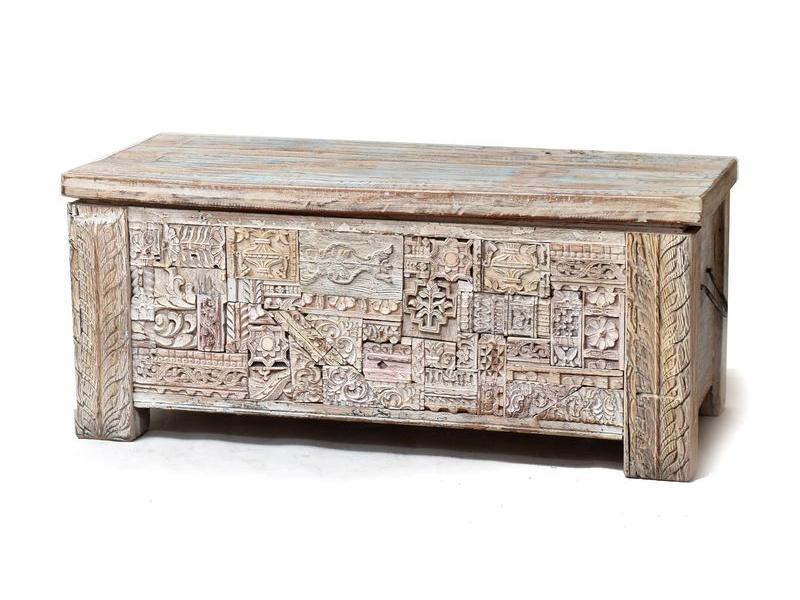 Stará dřevěná truhla z teakového dřeva, ruční řezby, 103x49x45cm