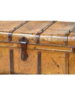 Plechový kufr, antik, žlutý, 75x45x32cm