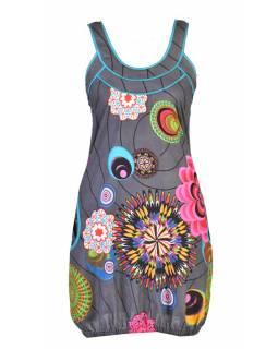 """Šedé šaty bez rukávu """"Wanda"""" s barevnými květinami, kapsy"""
