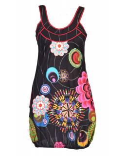 """Černé šaty bez rukávu """"Wanda"""" s barevnými květinami, kapsy"""