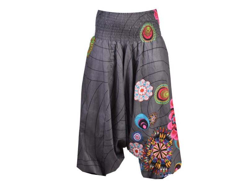 """Šedé turecké kalhoty-overal-halena 3v1 """"Anita"""", barevné květiny, žabičkování"""