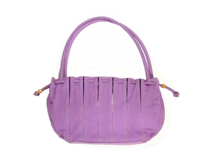 Taška, fialová, bavlna s kůží, všité pruhy fialové, stahovací, zip
