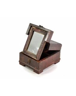 Šperkovnice se zrcadlem z antik teakového dřeva, 15x18x11cm