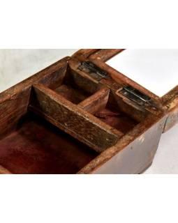 Šperkovnice se zrcadlem z antik teakového dřeva, 14x20x12cm
