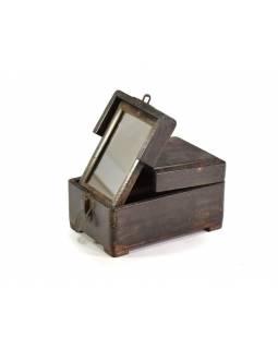 Šperkovnice se zrcadlem z antik teakového dřeva, 14x21x11cm