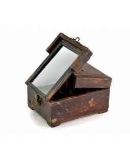 Šperkovnice se zrcadlem z antik teakového dřeva, 15x20x11cm