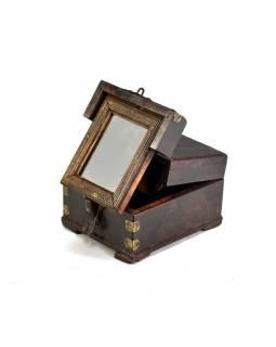 Šperkovnice se zrcadlem z antik teakového dřeva, 14x16x10cm