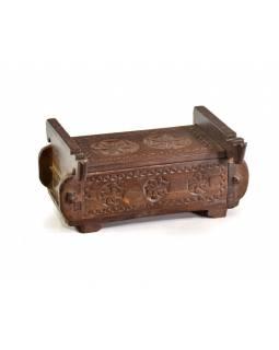 Antik dřevěná truhlička, ruční řezby, mango, 32x21x11cm