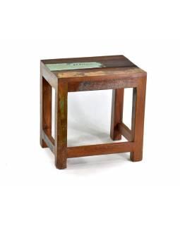 """Stolička z antik teakového dřeva v """"Goa"""" stylu, 34x27x36cm"""