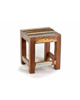 """Stolička z antik teakového dřeva v """"Goa"""" stylu, 26x24x30cm"""
