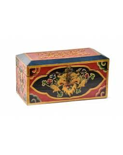 Dřevěná truhlička, tibetský design-Cheppu, malovaná, 21x11x12 cm