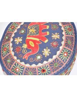 Modrý sedák z Rajastanu, patchwork, ručně vyšívaný slon, 45x45x40cm