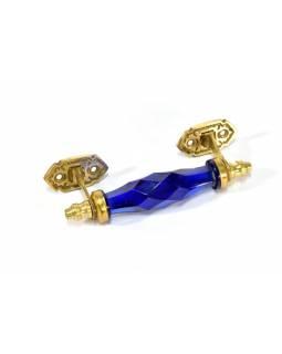 Skleněná úchytka na šuplík, kovové zdobení, tmavě modrá, 14x5cm