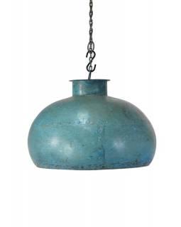 Kovové stínidlo s tyrkysovou patinou, průměr 38cm, výška 25cm