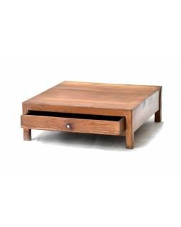 Odkládací stolek se šuplíkem z antik teakového dřeva, 61x64x21cm