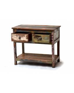 Odkládací stolek se šuplíky z antik teakového dřeva, 69x40x60cm