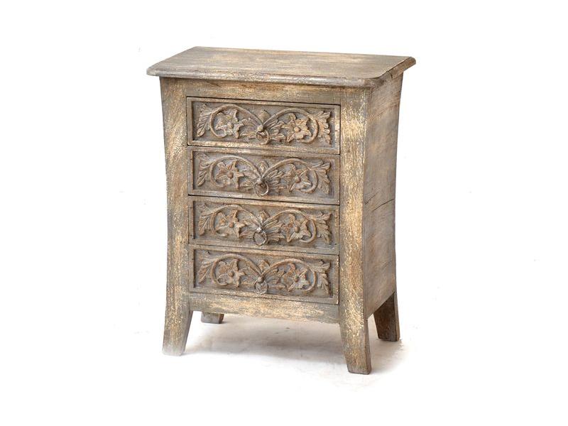 Komoda ze starého teakového dřeva s ručně vyřezávanými šuplíky, 53x32x66cm
