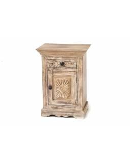 Komoda z antik teakového dřeva, ruční řezby, 47x32x66cm