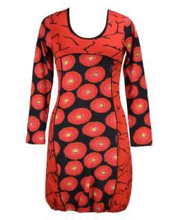 """Černo červené balonové šaty s dlouhým rukávem """"Dounia"""", potisk"""