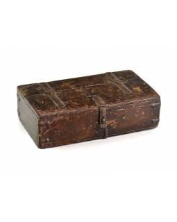Stará dřevěná truhlička z teakového dřeva, 24x10x7cm