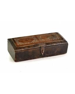 Stará dřevěná truhlička z teakového dřeva, 30x17x9cm