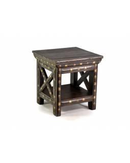 Stolička z antik teakového dřeva zdobená mosazným kováním, 41x41x44cm
