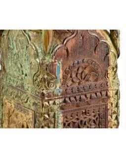 Svícen, antik sloup, teak, zelený, 20x20x60cm