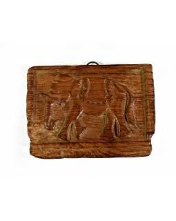 Starý, ručně vyřezávaný dřevěný panel z mangového dřeva, 16x12cm