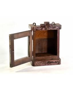 Prosklená skříňka z antik teakového dřeva, 26x18x38cm