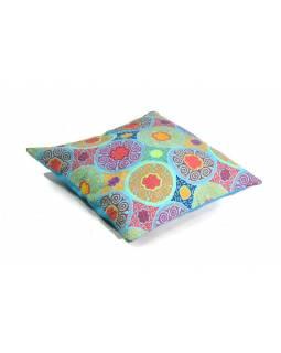 """Povlak na polštář, """"Mandala, tyrkysový, ruční výšivka, 50x50cm"""