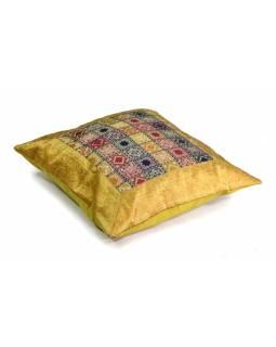 Povlak na polštář, žlutý, kostičkový vzor, zlatá výšivka, 60x60cm