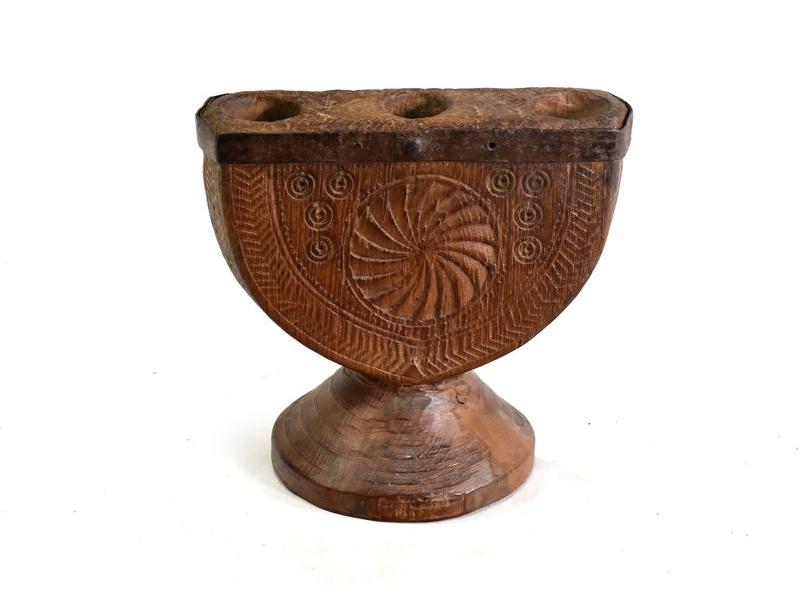 Dřevěný svícen z anti teakového dřeva, 23x15x23cm