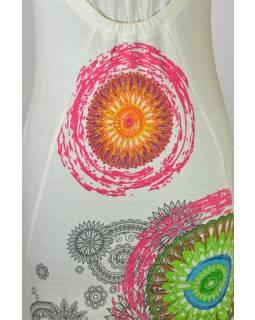 """Bílé šaty s krátkým rukávem """"Muria"""", multibarevné mandaly a květiny"""