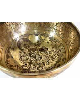 """Tibetská mísa, """"Jam"""", gravírovaný ornament Green Tara, průměr 31cm"""