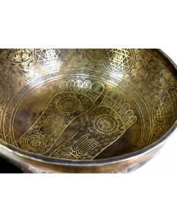 """Tibetská mísa, """"Jam"""", gravírovaný ornament Buddhovy nohy, průměr 33,5cm"""
