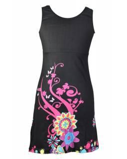 """Černé šaty bez rukávu """"Elena"""", barevný potisk"""