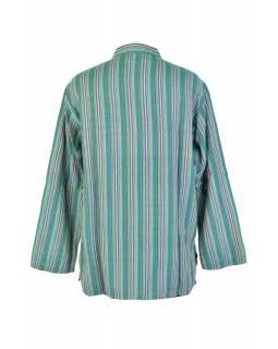 Pruhovaná pánská košile-kurta s dlouhým rukávem a kapsičkou, zelená