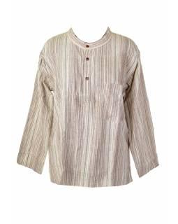 Pruhovaná pánská košile-kurta s dlouhým rukávem a kapsičkou, béžovo bílá