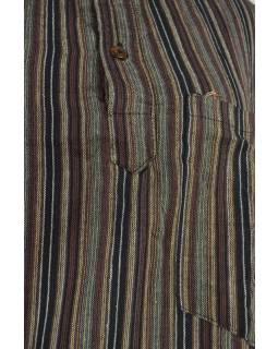 Pruhovaná pánská košile-kurta s dlouhým rukávem a kapsičkou, hnědo černá